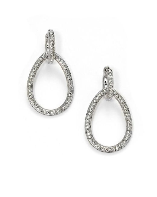 Adriana Orsini | Metallic Pavà Teardrop Earrings | Lyst