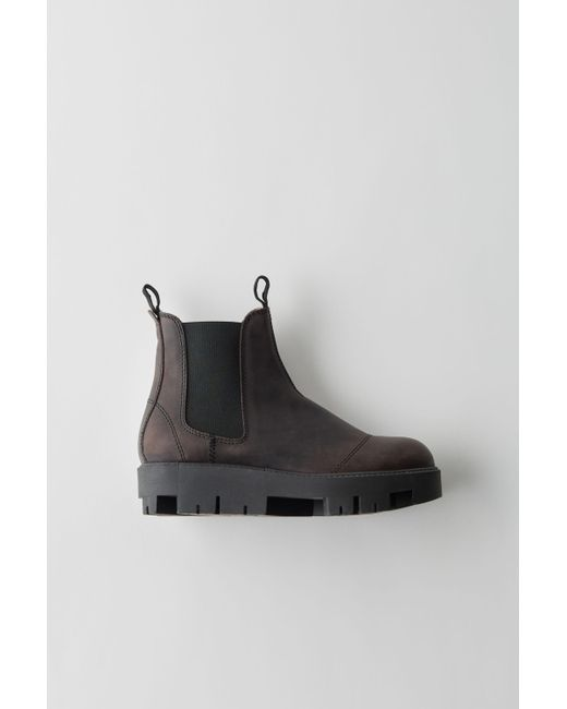 Acne - Tillay Waxed Black Industrial Chelsea Boots - Lyst