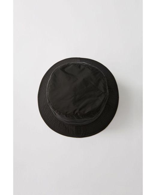 Acne - Buk Face Tech Black Bucket Hat for Men - Lyst