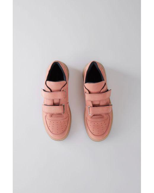 Acne - Steffey Nubuk Dusty Pink Velcro Sneakers - Lyst