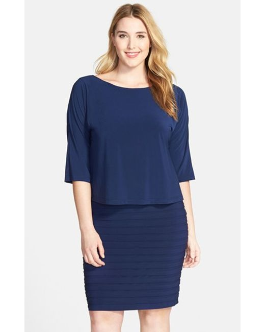 Adrianna Papell | Blue Popover Bodice Shutter Pleat Sheath Dress | Lyst