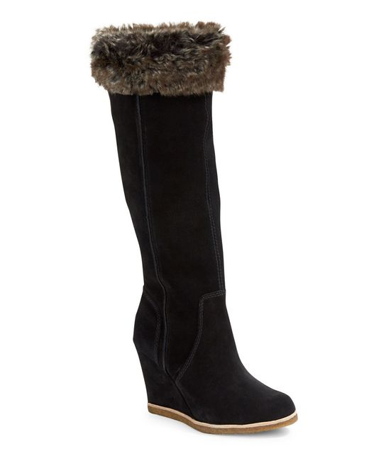splendid tatum suede and faux fur knee high boots in black