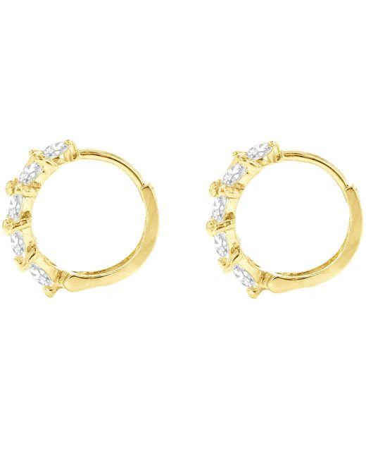 Ib&b | Metallic 9ct Yellow Gold Leaf Cluster Huggy Hoop Earrings | Lyst