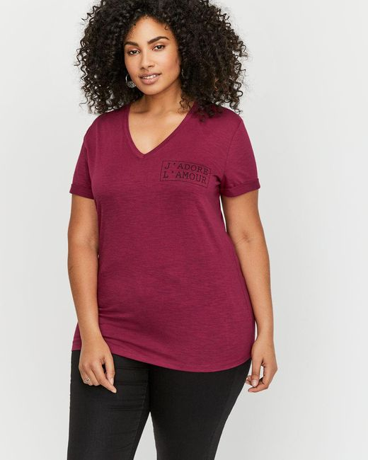 Addition Elle - Red L&l Printed Boyfriend T-shirt - Lyst