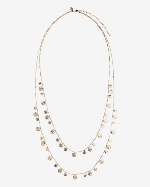 Addition Elle - Metallic Two-row Necklace With Mini Discs - Lyst