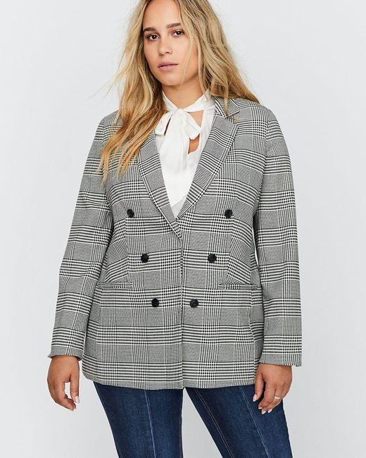 Addition Elle - Black Semi-fitted Prince Of Wales Blazer - Michel Studio - Lyst