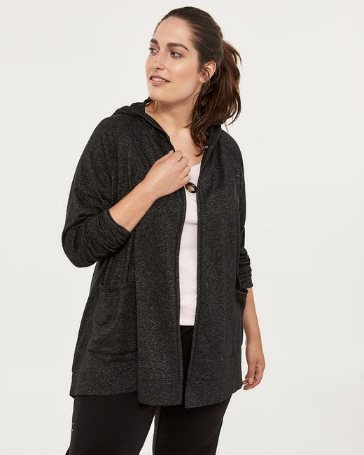 Addition Elle - Black Plus-size French Terry Cardigan With Hood - Activezone - Lyst