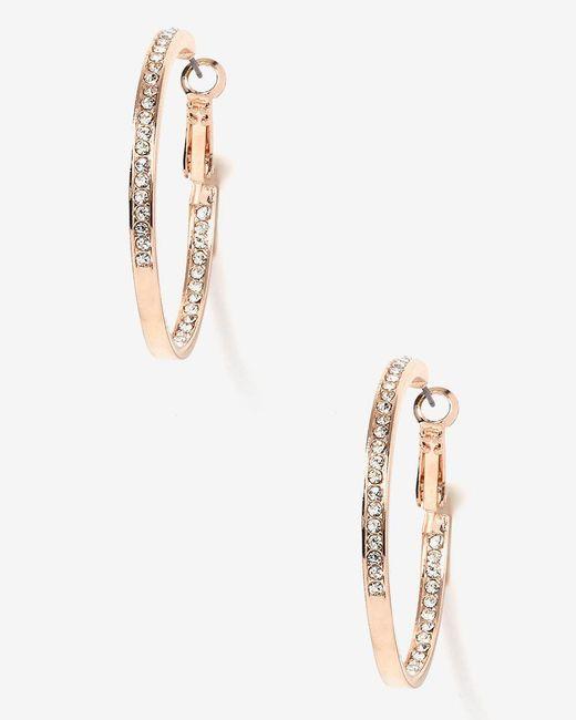 Addition Elle - Metallic Rhinestone Hoop Earrings - Lyst