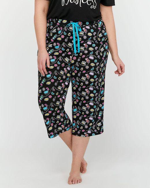 Addition Elle - Black Printed Pajama Capri - Déesse Collection - Lyst