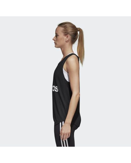c5102879362869 Lyst - adidas Essentials Linear Loose Tank Top in Black - Save 40%