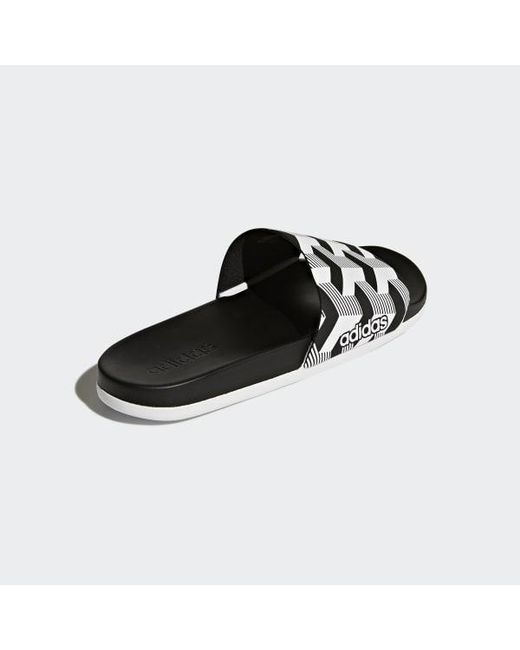 best website 13909 91816 ... Adidas - Black Adilette Cloudfoam Plus Graphic Slides for Men - Lyst ...