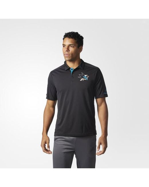 Adidas - Black Sharks Pro Locker Room Polo Shirt for Men - Lyst