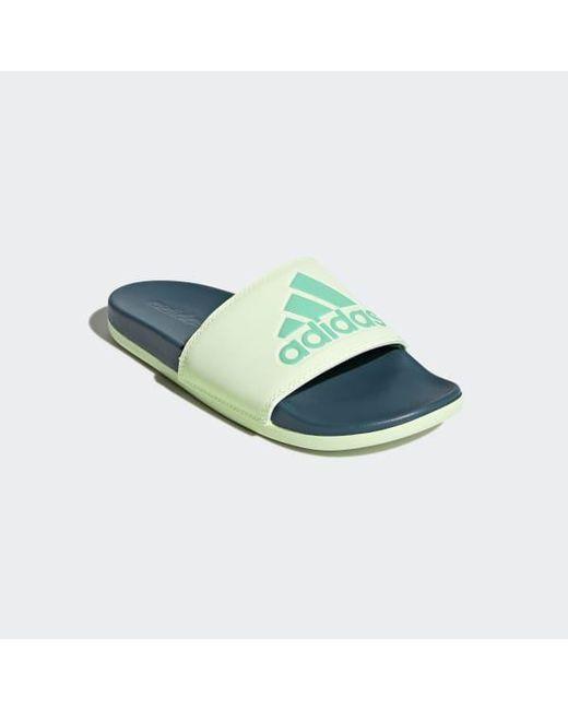 9fcfa48d5b859 Lyst - adidas Adilette Cloudfoam Plus Logo Slides in Green - Save 31%