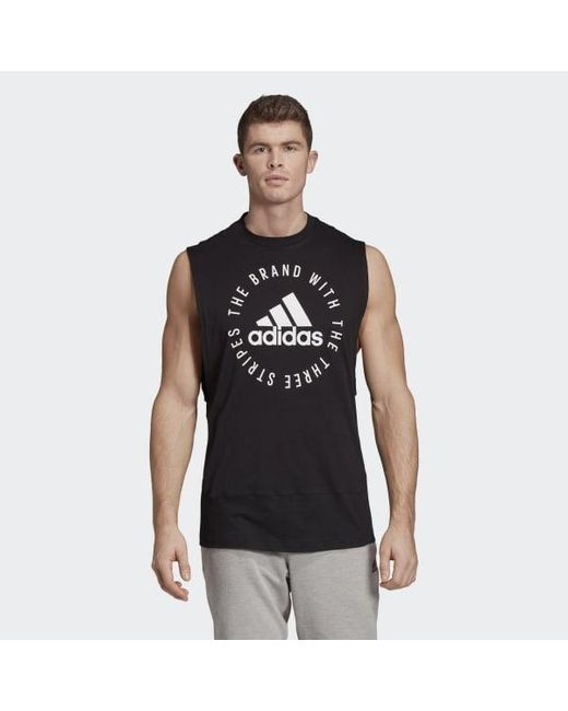 aead1df8c2990 Lyst - adidas Men s Three-stripe Tank Top in Black for Men - Save 17%