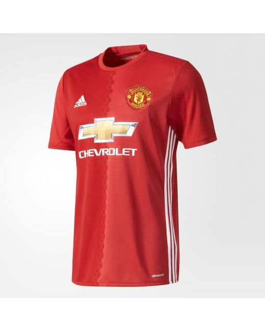 143f5a5af0c Adidas - Red Manchester United Fc Home Jersey for Men - Lyst ...