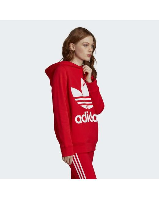 adidas V day Trefoil Hoodie in Red Lyst