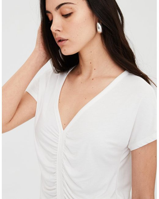 American Eagle - White Ae Soft & Sexy Cinch Front Dolman Tee - Lyst