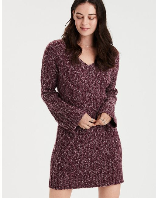 06e0193cf64 Lyst American Eagle Ae V Neck Cable Knit Sweater Dress In Purple. Lyst American  Eagle Ae Ahh Mazingly Soft ...