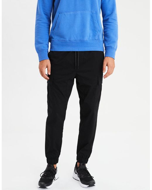 American Eagle - Black Ae Twill Jogger for Men - Lyst