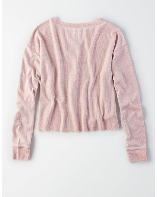 79e992387 ... American Eagle - Pink Ae Long Sleeve Waffle Graphic Tee - Lyst ...