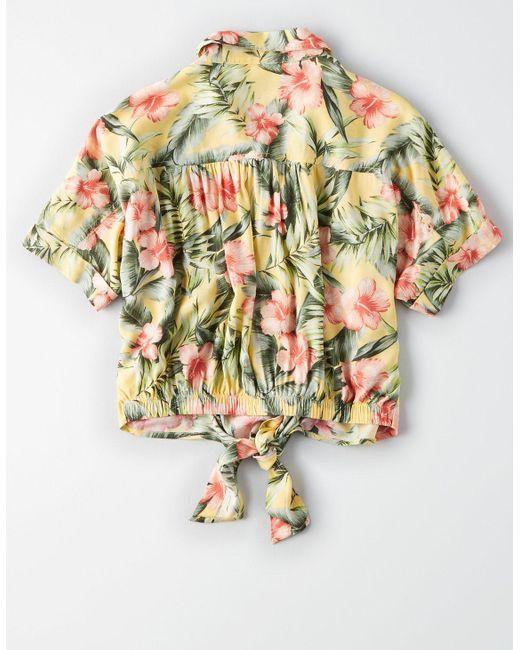 da1d9a33 ... American Eagle - Yellow Ae Hawaiian Button Down Shirt - Lyst