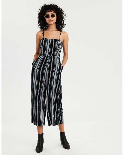6e8f090be724 American Eagle - Black Ae Striped Button Front Jumpsuit - Lyst ...