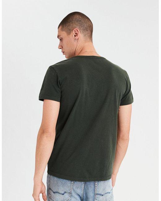 0edaa5b6dbf7 ... American Eagle - Green Ae Logo Slub V-neck T-shirt for Men ...
