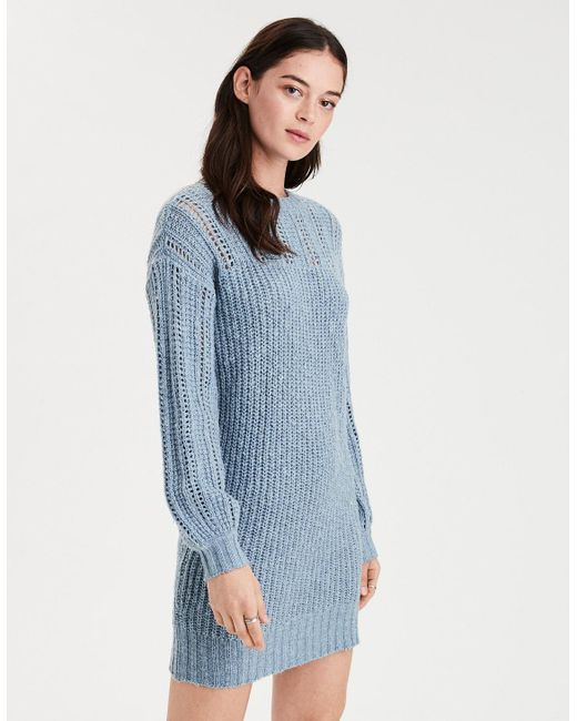 8802973f9b2 Lyst American Eagle Ae Mix Sch Balloon Sleeve Sweater Dress In Blue