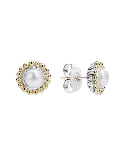 Lagos | White Stone Stud Earrings | Lyst