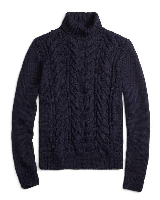 Brooks Brothers Alpaca Handknit Cable Turtleneck Sweater