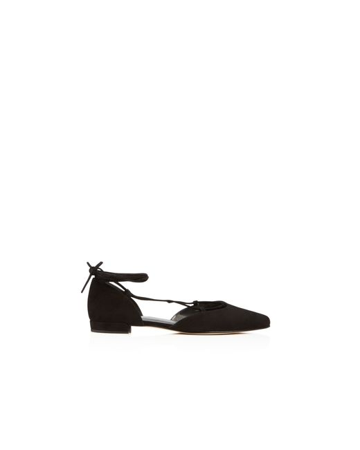 Stuart Weitzman | Black Gilligan Suede Lace Up D'orsay Flats | Lyst