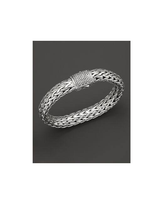 John Hardy | Metallic Classic Chain Sterling Silver Large Bracelet With Diamond Pave Clasp | Lyst