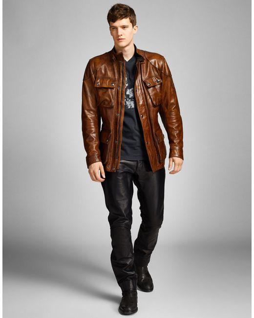 Belstaff Panther Leather Biker Jacket In Brown For Men Lyst