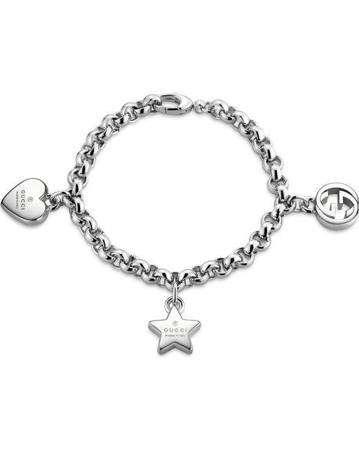 Gucci | Metallic Trademark Sterling Silver Charm Bracelet | Lyst