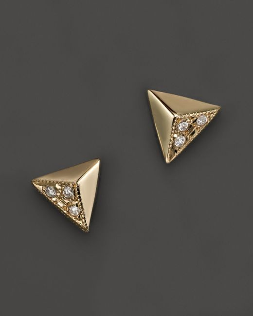 Zoe Chicco | 14k Yellow Gold Triangle Pyramid Pave Stud Earrings, .03 Ct. T.w. | Lyst