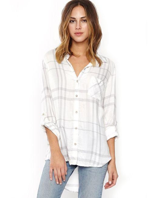 Thread supply malibu pier plaid button up shirt in gray for Grey plaid shirt womens