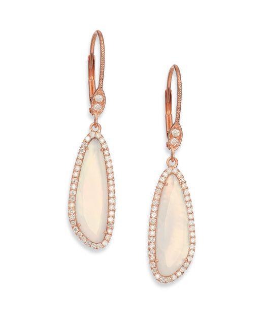 Meira T | Pink Chalcedony, Mother-of-pearl, Diamond & 14k Rose Gold Doublet Drop Earrings | Lyst