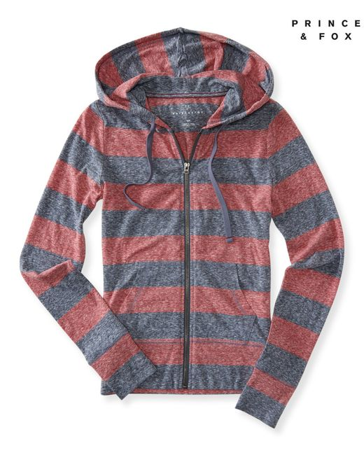 A 233 Ropostale Prince Amp Fox Rugby Stripe Lightweight Full Zip