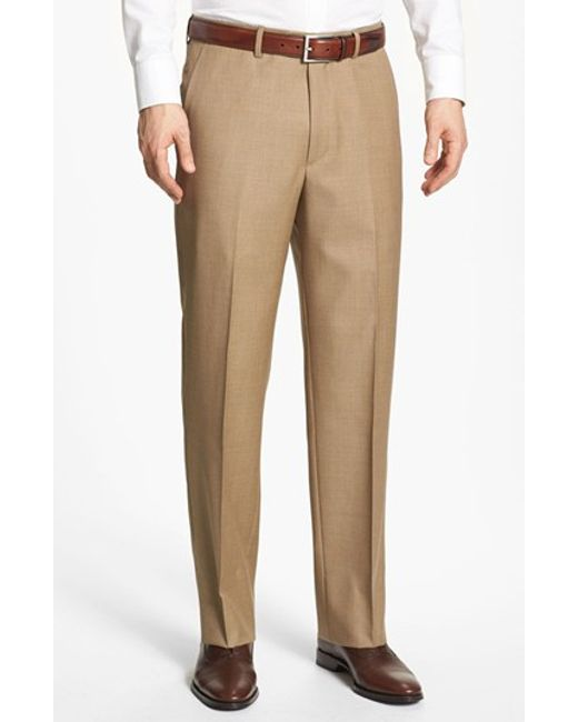 Santorelli | Brown Flat Front Wool Trousers for Men | Lyst