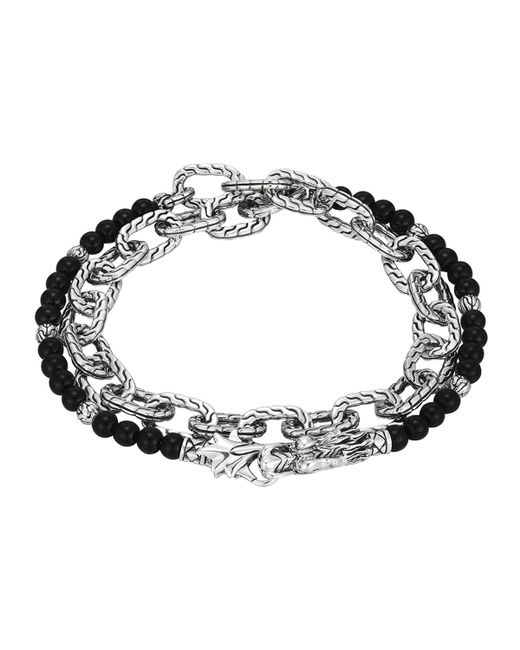 John Hardy | Metallic Naga Double Wrap Silver Link Bracelet With Chalcedony | Lyst