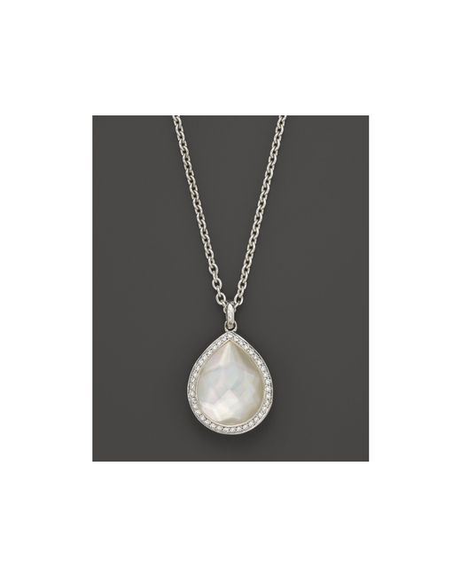 Ippolita | Multicolor Sterling Silver Stella Teardrop Necklace In Mother-of-pearl With Diamonds, 16"