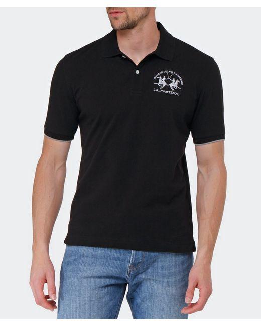 La Martina | Black Plain Polo Shirt for Men | Lyst