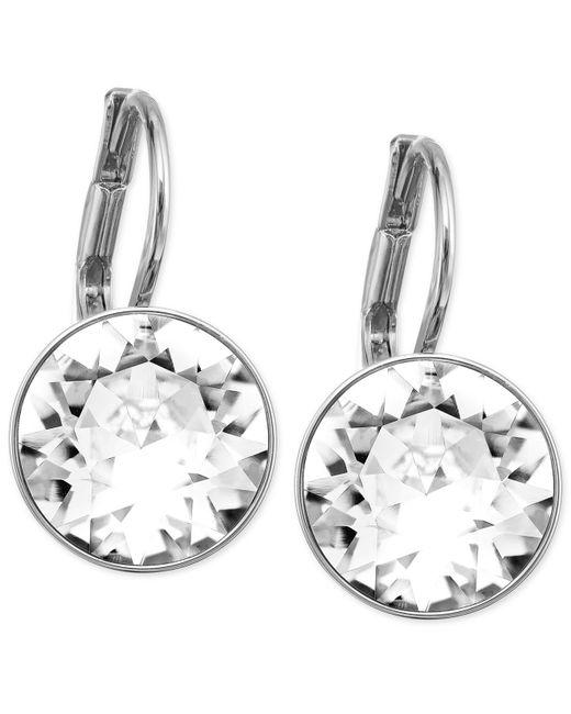 Swarovski | Metallic Earrings, Rhodium-plated Light Sapphire Crystal Drop Earrings | Lyst