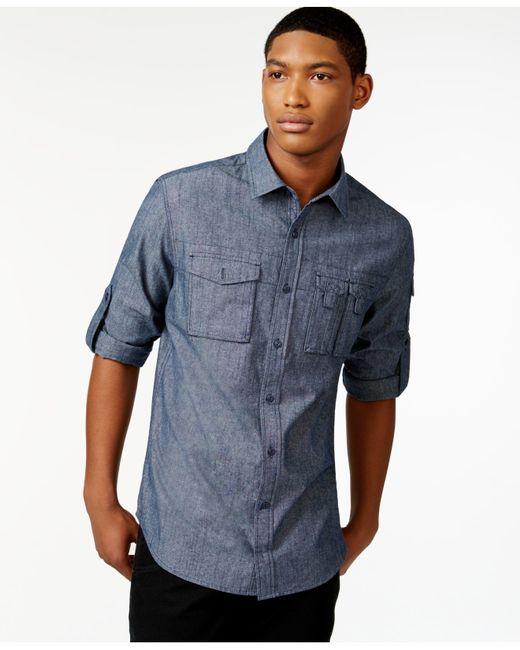 Sean john men 39 s chambray shirt in blue for men navy lyst for Sean john t shirts for mens