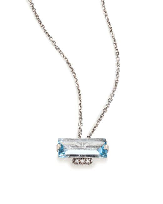 KALAN by Suzanne Kalan | Metallic Soleil Blue Topaz, Diamond & 14k White Gold Layered Baguette Pendant Necklace | Lyst