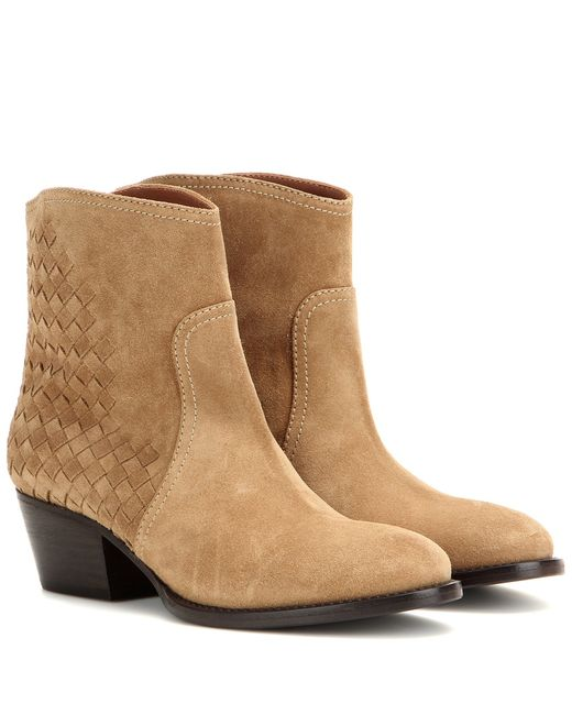 bottega veneta suede ankle boots in beige save 30 lyst