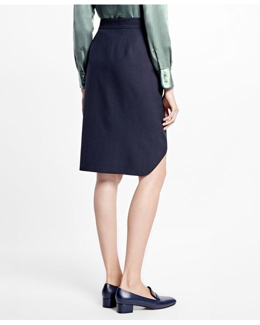 brothers asymmetrical wrap skirt in blue navy
