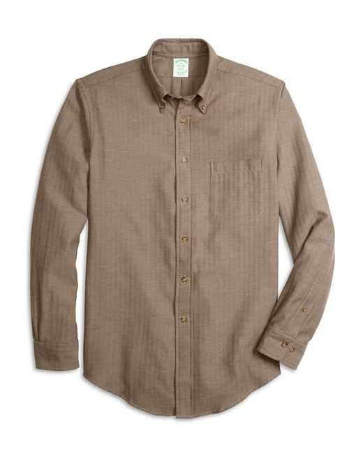 Brooks Brothers   Natural Brooksflannel® Madison Fit Herringbone Sport Shirt for Men   Lyst