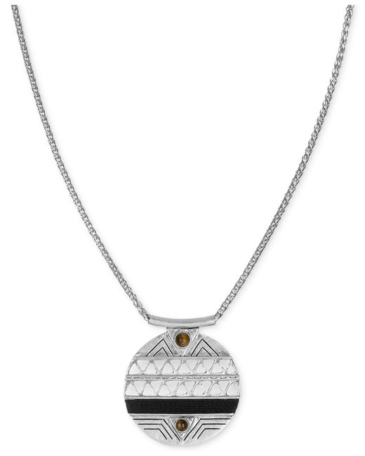 The Sak | Metallic Silver-tone Tiger's Eye Accent And Etched Pendant Necklace | Lyst