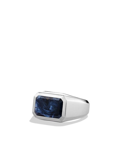David Yurman | Blue Heirloom Streamline Signet Ring With Pietersite for Men | Lyst